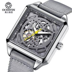 OCHSTIN Automatic Mechanical Watch Leather Strap Men Fashion Sports Skeleton Gray Square Waterproof Business Tourbillon Watches B1205