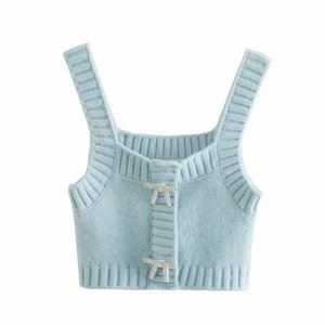 2021 Spring New Women's Artificial Jewelry Button Knitted Top Sling