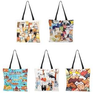 14 Styles Designer Shopping Bag Cute Cat Printing Women Handbag Linen Totes Casual Traveling Beach Bags w-00629