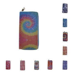 Women Designer Wallet Tie-dye Gradient Color PU Zipper Purse Lady Long Wallets with Card Slot Handbags Coin Bag Credit Card Holder E112406