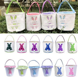 Easter Bunny Basket DIY Canvas Rabbit Tail Bucket Happy Easter Party Decorative Baskets Eggs Hunting Tote Bag 16 Designs YG896