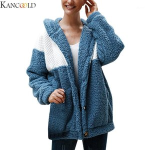 KANCOOLD Autumn New High Fashion Women Hooded Plush Solid Color Stitching Button Cotton Long Sleeve Cardigan Coat New Arrival1