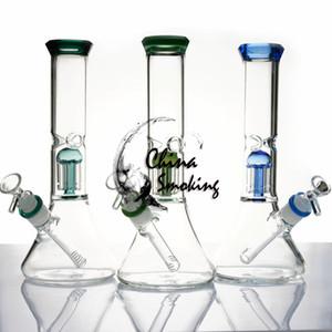 11,2-Zoll-Glaspfeife 5mm Stärke Wasserrohr mit 6 Arm Bäumen Glasschüssel + downstem Glas Bongs weiblich Dab Rig