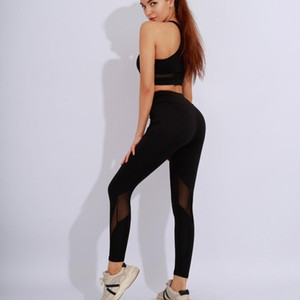 Breathable Mesh Yoga Set Women High Waist Sports Slimming Bra and Leggings Two-piece Workout Clothes Sportswear Fitness Suit