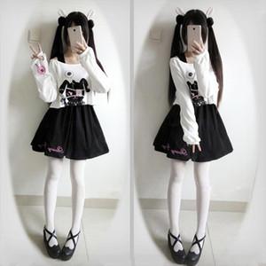 Paris Girl Black Comic Rabbit Teens Girl 2 Pcs Suit Sweet Cotton Dress Short Cute Bunny Print Long Sleeves Japanese Lolita Dress