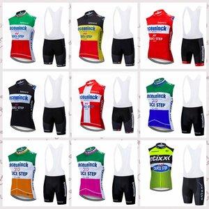 Quick Step Team Homens Ciclismo Sem Mangas Camisas Vest Bib Sets Conjuntos Ropa Ciclismo Bicicleta Roupas Road Bike Sportswear F61919