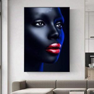Black Girl Red Lips Canvas Painting Living Room Wall Pictures Posters and Prints African Artwork Decor Artwork
