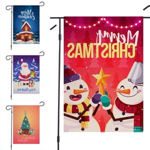 Dhl Shipping Merry Christmas Garden Double Sided Home Decorative Xmas House Yard Flags Santa Snowman Decor New Year Outdoor Flag Wholesale