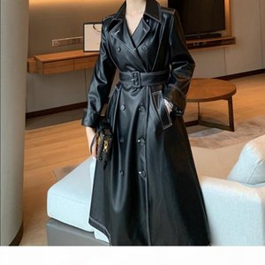 2020 spring autumn fashion pu leather trench coat women double breasted slim belted long jacket