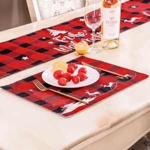 Christmas Linen Placemat 30*40cm Red and Black Lattice Christmas Dinner Placemat Merry Christmas Letters Printed Table Mat CCA2772