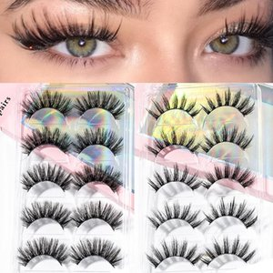 5 Pairs 15-25mm 3D Faux Mink Hair Natural Thick False Eyelashes Long Eye Lashes Handmade Wispy Makeup Beauty Extension Tools