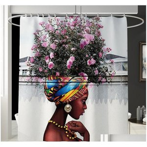 African American Women Bath Mat Shower Curtain Bath Rug Sets Bathroom Carpet Toilet Mat Set Non Slip H qylhZy bdebaby