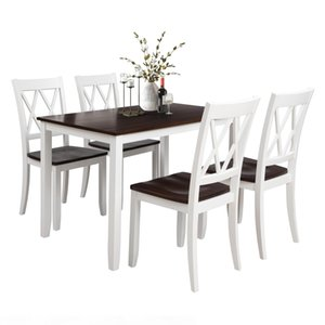US warehouse 5-Piece Dining Table Set Home Kitchen Table and Chairs Wood Dining Set (White+Cherry) SH000088AAK
