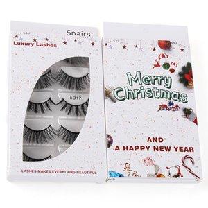 Merry Christmas 5Pairs Natural 5D False Lashes Fake Eyelashes Makeup Mink Eyelashes Extension Christmas Eyelash Boxes Maquiagem