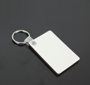 60*40*3mm Sublimation Blank Keychain MDF Square Wooden Key Pendant Thermal Transfer Key Ring White DIY Key Chain Party Favor Gift db267