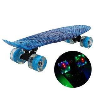 Skate piscando luz mini cruzador skate plástico galáxia estrelado céu impresso longboard rua ao ar livre esporte de entretenimento ao ar livre
