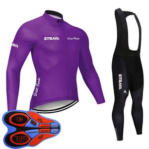 New Team STRAVA Cycling Long Sleeves jersey (bib) Pants sets pro men autumn cycling jersey kits Racing bike clothing sports uniform Y102201
