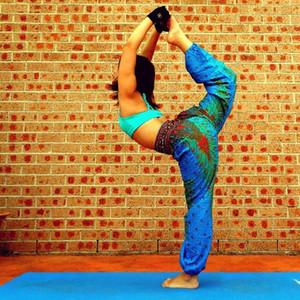 2020 Blue lotus flower Lounge bloomers pant beach loose belly dance costume broad leg pants women's yoga pants pantalettes