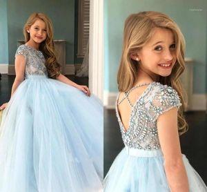 Sky Blue Girls Pageant платья стразы из бисера верхняя часть крышки рукав ленты ленты цветок девочки платье детей день рождения платье1
