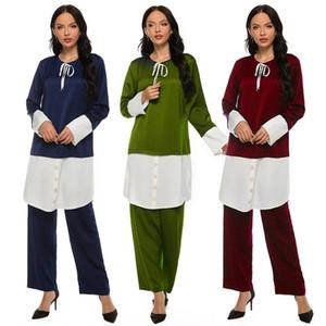 Muslim Modest Clothing Women Malaysia Fashion Contrast Color Two Pieces Abaya Set 4XL Bow Button Arabic Dubai Islamic Set 2020