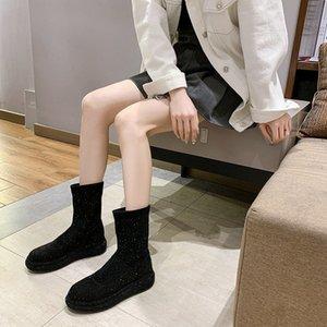 Designer frauen schuhe 2020 winter strass temperament sleeve runde toe kurze stiefel lange stiefel einzeln stiefel trendy damen bo