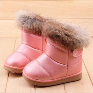 Cozulma hiver peluche bébé fille bottes de neige chaussures chaudes cuir PU cuir puits avec bébé chaussures en bas âge chaussures en plein air Bottes de neige filles chaussures enfants Q1123