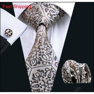 Krawatte Set für Männer braun Hankerchief Manschettenknöpfe Jacquard gewebt Mens Krawatte Set Business Qylpbc Homes2007