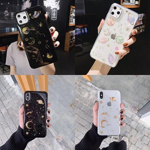 Cute Glitter Planet Star Moon Space Phone Case For iPhone 11 12 Pro Max X XS XR 6 6S 7 8 Plus Transparent Soft TPU Epoxy Back Cover