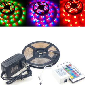 Retail Package Outdoor Garden Waterproof IP65 LED Strip Light 12V 2835 Multi Colors Changing Rope 300leds IR Remote Controllers 2A Adapter