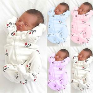 Baby Long Sleeve Button Romper Newborn Boys Girl I Love Dad Mom Pattern Jumpsuit Children Wear 25lm J2