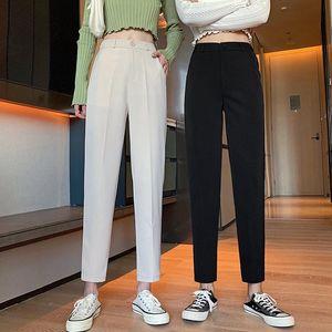 Pantalon Mujer Limited Trousers Women Autumn 2021 New Korean Style Harlan Pants Women's Waist Slim Suit All-match Capri-pants