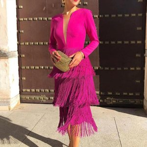 Office Ladies New Rose Red Fringe Sexy Dress Womens 2020 Spring Summer Fashion Knee Length Slim Party Night Dresses XXL Tassels