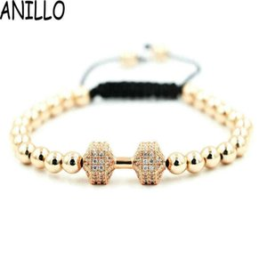 Men Women Dumbbell Charm Bracelets Micro Pave Setting Inlay Zircon Rose Gold 6Mm Copper Beads Braiding Adjustable Jewelry