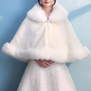 2021 Bridal Winter Warm Cape Fur Shawl Wedding Outerwear Bolero Wrap Cape Stole Women Jacket Coat Shrug for Party Dresses BD016