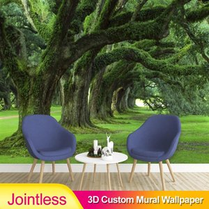 Jointless Spatial Extension Personality Wall Mural Wallpaper Green Tree Path Landscape Photo Wall Papers Living Room Background