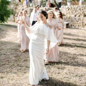 Praia sereia vestidos de noiva com envoltório puro pescoço sem costas trens soft cetim apliques bohemian vestidos nupciais vestes de mariee barato