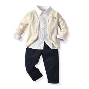 Toddler Boys Clothing 1-5 Years Kids Set Baby Beige Sweater Jacket + Shirt + Pants Children Kid Clothes Suits Walk Costume Y1117