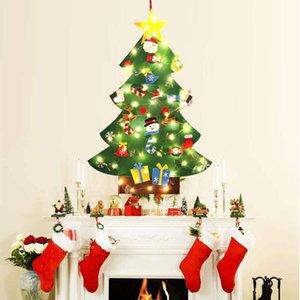 DIY Felt Christmas Tree Set & Led String Lights Wall Hanging Detachable Ornaments Xmas Gifts Children Christmas Home Decorations