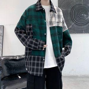 2021 Nouveau Patchworker Patchwork Hommes Blouse surdimensionné Harajuku Hommes Casual Homme De Chemise à manches longues Tops Streetwear Vêtements Hip Hop 1I8x