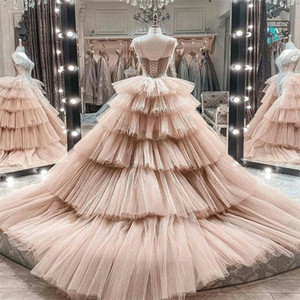 Pink Mermaid Wedding Dresses With Detachable Train Tiered Tulle Custom Made Applique Lace Bridal Gown Luxury Beads Illusion Bridal Dress