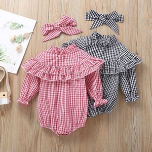 Baby kids  clothes Romper Girls O-neck Long Sleeve romper Plaid Romper With Headband Simple Soft Baby Clothing