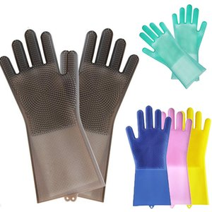 Magic Reusable Silicone Gloves Cleaning Brush Scrubber Gloves Heat Resistant for cleaning the home rubber gloves