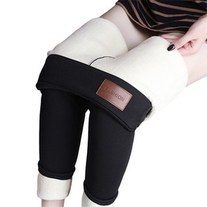 Salspor Tamaño Talla de invierno Leggings de cachemira Mujeres Alta cintura delgada Legging grueso Cálido Jeggings Femenino Negro más Velvet Pantalones Q1123
