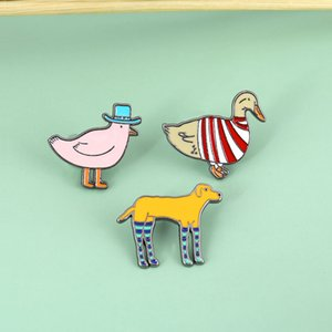 Cute Poultry Cartoon Animal Duck Dog Chickens Brooch Pins Funny Zinc Alloy Enamel Brooches for Girls Xmas Gift Badges Bag Shirt Pin 2020