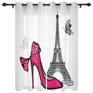 Red High Heels Eiffel Tower Butterfly Window Curtains Bedroom Kitchen Drapes Panel Curtains for Living Room Christmas Home Decor