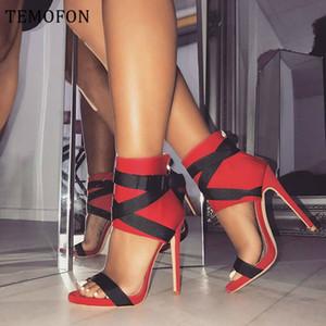 Temofon Tacones altos Peep Toe Bombas Sexy Blanco Negro Rojo Ladies Bombas Zapatos Mujeres Bombas de tacón alto con correa Zapatos de boda HVT714 J1215