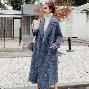 Clpaca Pails с длинным рукавом. Поворотный шерстяной пальто Женщины Новая Зимняя частица Флис двубортный карманный слой Alpaca 201104