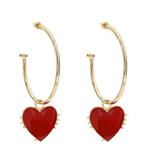 Cute Girl Gold Alloy Heart Pendant Earrings for Women Boho Red White Black Enamel Heart Hoop Earring Cocktail Party Jewelry