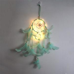 Traumfänger LED-Beleuchtung Feder-Netzwerk Home Dream Catcher Hängen Handgemachte Nachtlicht Mädchen Raum Wand Leuchtende Dekoration HWE2976