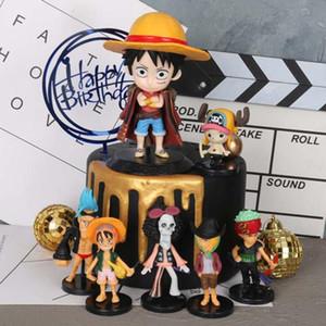 Anime One Piece Cake Topper Luffy Chopper Zoro Nami Sanji Zoro Figura One Piece Cake Decoración Fiesta de Cumpleaños de Boda Suministra